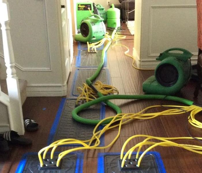 Water Damage SERVPRO of Oxnard CA drying bamboo wood floors
